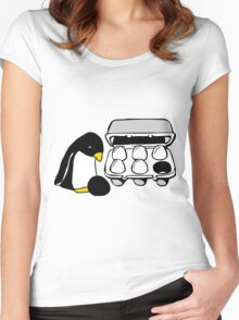 LINUX TUX PENGUIN EGG BOX BLACK EGG Women's Fitted Scoop T-Shirt