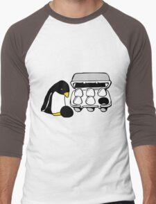 LINUX TUX PENGUIN EGG BOX BLACK EGG Men's Baseball ¾ T-Shirt