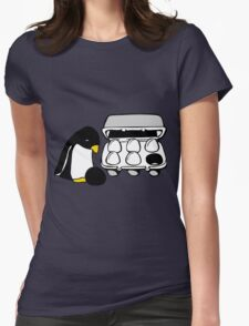 LINUX TUX PENGUIN EGG BOX BLACK EGG Womens Fitted T-Shirt
