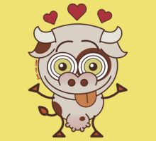 Cute cow falling madly in love One Piece - Short Sleeve