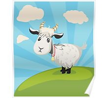 Goat on Lawn Poster
