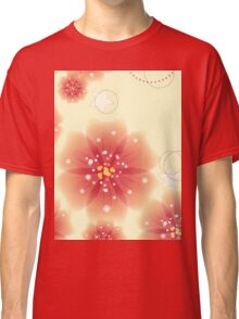 Pink flowers on yellow background Classic T-Shirt