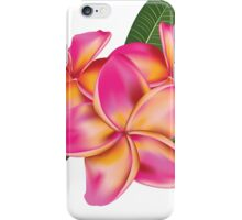 Pink plumeria with leaves iPhone Case/Skin