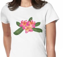 Pink plumeria with leaves Womens Fitted T-Shirt