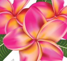 Pink plumeria with leaves Sticker