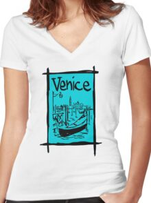 Venice lagoon sketch Women's Fitted V-Neck T-Shirt