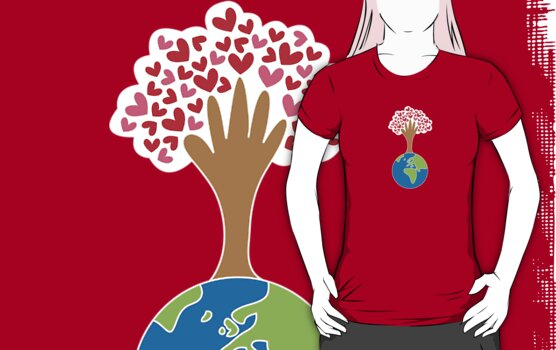 Earth's Hand and Tree of Love T-shirt by fatfatin