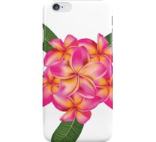 Pink plumeria with leaves 2 iPhone Case/Skin