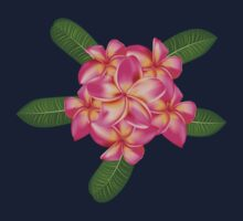 Pink plumeria with leaves 2 One Piece - Long Sleeve