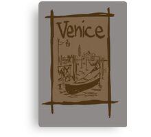 Venice lagoon vintage sketch Canvas Print