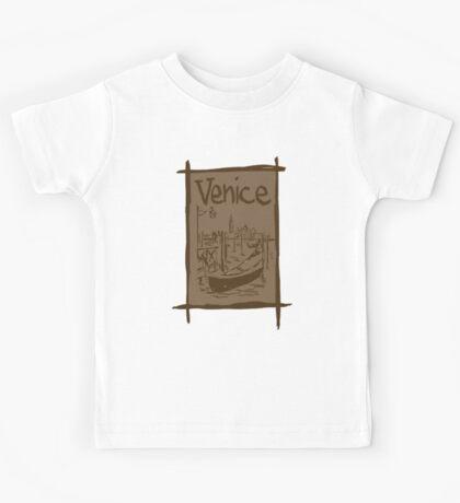 Venice lagoon vintage sketch Kids Tee