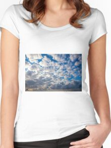 Cumulus Cloudscape white clouds in blue sky background  Women's Fitted Scoop T-Shirt