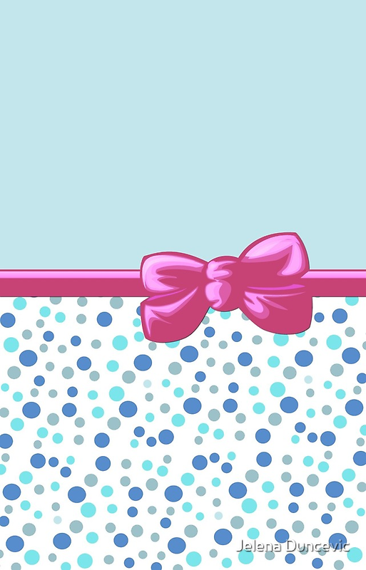 Ribbon, Bow, Dots, Spots - Blue White Pink by sitnica