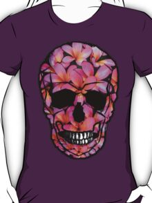 Skull with Pink Frangipani Flowers T-Shirt