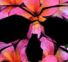 Skull with Pink Frangipani Flowers Sticker