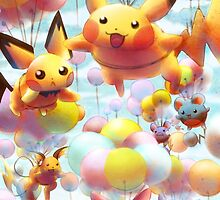 Pikachu and Chu Friends with Balloons by marishop