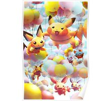 Pikachu and Chu Friends with Balloons Poster