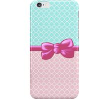 Ribbon, Bow, Quatrefoil Shape - Blue White Pink iPhone Case/Skin