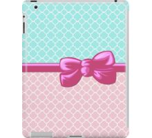 Ribbon, Bow, Quatrefoil Shape - Blue White Pink iPad Case/Skin
