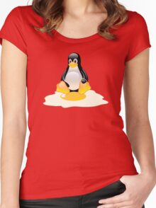LINUX TUX  PENGUIN EGG MISCARRIAGE  Women's Fitted Scoop T-Shirt