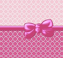 Ribbon, Bow, Quatrefoil Shape - White Pink by sitnica