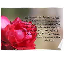 Red Rose with 1 Peter 3:3-4 Poster