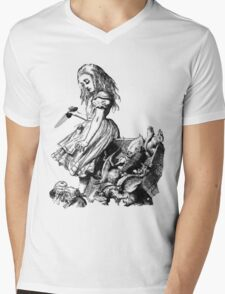 Alice through the PSP  filters with added knife Mens V-Neck T-Shirt