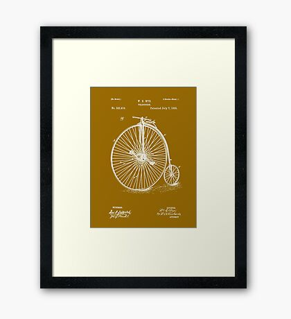 Bicycle - High Wheel - 1885 Nye Velocipede Patent Framed Print