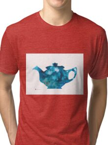 Teapot silhouette painting abstract wall decor Tri-blend T-Shirt