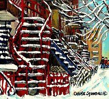 SNOWY STREPS IN VERDUN MONTREAL WINTER CITY SCENES by Carole  Spandau