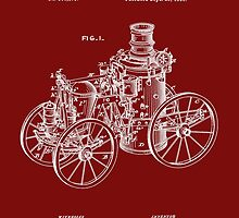 Fire Department - 1896 Tarr Steam Fire Engine Patent by Barry  Jones