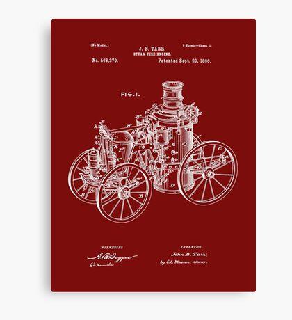 Fire Department - 1896 Tarr Steam Fire Engine Patent Canvas Print