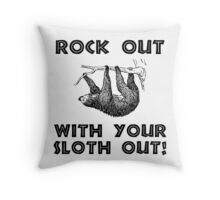 Rock Out Sloth Throw Pillow