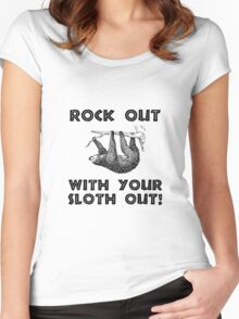 Rock Out Sloth Women's Fitted Scoop T-Shirt