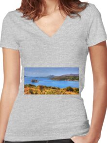 The Aegean Sea from Cape Sounion Women's Fitted V-Neck T-Shirt