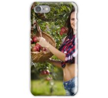 Beautiful woman picking apples iPhone Case/Skin
