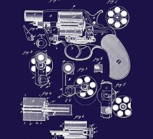 Revolver - Gun - 1881 Mason Revolver Firearm Patent by Barry  Jones