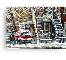 MONTREAL SNOWSTORM WINTER STREET SCENE PAINTING Canvas Print