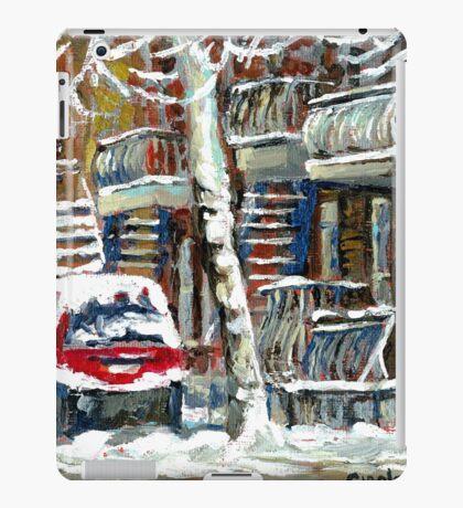 MONTREAL SNOWSTORM WINTER STREET SCENE PAINTING iPad Case/Skin