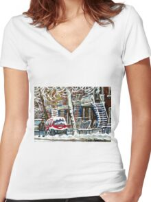 MONTREAL SNOWSTORM WINTER STREET SCENE PAINTING Women's Fitted V-Neck T-Shirt