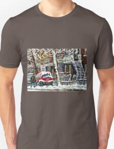 MONTREAL SNOWSTORM WINTER STREET SCENE PAINTING Unisex T-Shirt
