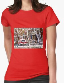 MONTREAL SNOWSTORM WINTER STREET SCENE PAINTING Womens Fitted T-Shirt