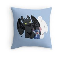 Toothless,Stitch and Baymax Throw Pillow