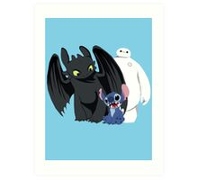 Toothless,Stitch and Baymax Art Print