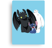 Toothless,Stitch and Baymax Canvas Print