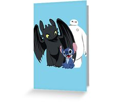 Toothless,Stitch and Baymax Greeting Card