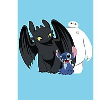 Toothless,Stitch and Baymax Photographic Print