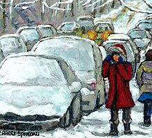 WALKING THROUGH THE SNOW VERDUN MONTREAL WINTER STREET SCENE by Carole  Spandau
