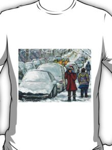 WALKING THROUGH THE SNOW VERDUN MONTREAL WINTER STREET SCENE T-Shirt