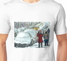 WALKING THROUGH THE SNOW VERDUN MONTREAL WINTER STREET SCENE Unisex T-Shirt